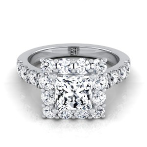 Princess Cut  Diamond Halo Engagement Ring With Pave Shank In Platinum (1 1/10 Ct.tw.)
