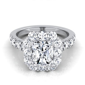 Radiant Diamond Halo Engagement Ring With Pave Shank In 14k White Gold (1 1/10 Ct.tw.)