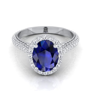 Sapphire Oval Center Diamond Pave Engagement Ring With Triple Row Shank In 14k White Gold (4/5 Ct.tw.)