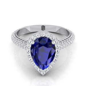 Sapphire Pear Shape Center Diamond Pave Engagement Ring With Triple Row Shank In 14k White Gold (4/5 Ct.tw.)