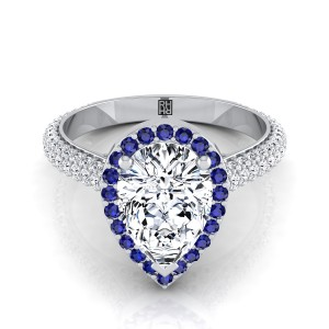 Pear Shape Diamond Pave Engagement Ring With Sapphire Accented Halo In 14k White Gold (3/4 Ct.tw.)