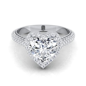 Heart Shape Diamond Pave Engagement Ring With Triple Row Shank In 14k White Gold (4/5 Ct.tw.)