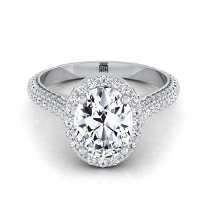 Oval Diamond Pave Engagement Ring With Triple Row Shank In 14k White Gold (4/5 Ct.tw.)