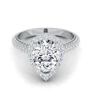 Pear Shape Diamond Pave Engagement Ring With Triple Row Shank In 14k White Gold (4/5 Ct.tw.)