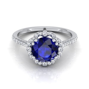 Sapphire Round Center Diamond Scalloped Halo Engagement Ring With A Graduated Shank In 14k White Gold