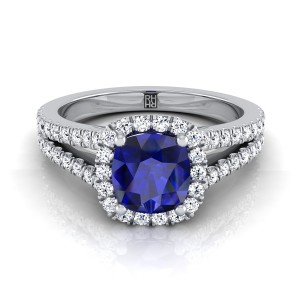 Cushion-cut Sapphire Center With Diamond Halo Engagement Ring And Split Pave Shank In 14k White Gold (3/8 Ct.tw.)