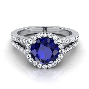 Sapphire Round Center Diamond Halo Engagement Ring With Split Pave Shank In 14k White Gold (3/8 Ct.tw.)