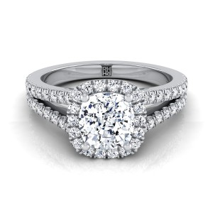 Cushion Cut Diamond Halo Engagement Ring With Split Pave Shank In 14k White Gold (3/8 Ct.tw.)