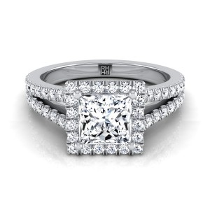 Princess Cut Diamond Halo Engagement Ring With Split Pave Shank In 14k White Gold (3/8 Ct.tw.)