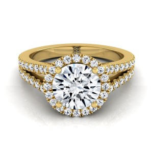 Diamond Halo Engagement Ring With Split Pave Shank In 14k Yellow Gold (3/8 Ct.tw.)