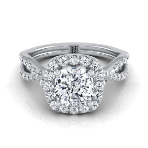 Cushion Cut Diamond Halo Engagement Ring With Infinity  Shank In 14k White Gold (1/2 Ct.tw.)