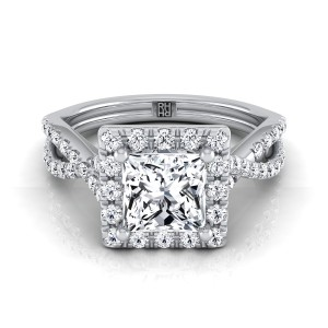 Princess Cut Diamond Halo Engagement Ring With Infinity  Shank In 14k White Gold (1/2 Ct.tw.)