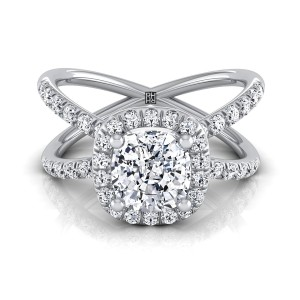 Cushion Cut Diamond Halo Engagement Ring With Crossover Pave Shank In 14k White Gold  (1/2 Ct.tw.)