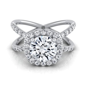 Diamond Halo Engagement Ring With Crossover Pave Shank In 14k White Gold  (1/2 Ct.tw.)