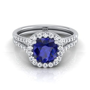 Cushion-cut Sapphire Center And Diamond Halo Engagement Ring With Double Row Shank In 14k White Gold (3/8 Ct.tw.)