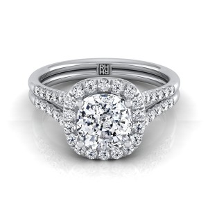 Cushion Cut Diamond Halo Engagement Ring With Double Row Shank In 14k White Gold (3/8 Ct.tw.)