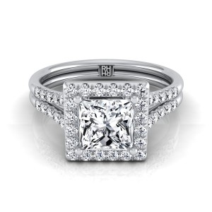 Princess Cut Diamond Halo Engagement Ring With Double Row Shank In 14k White Gold (3/8 Ct.tw.)