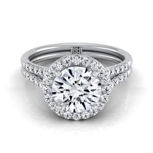 Diamond Halo Engagement Ring With Double Row Shank In 14k White Gold (3/8 Ct.tw.)