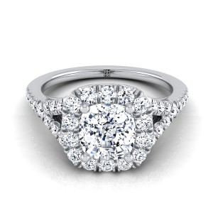 Cushion Cut Diamond Halo Engagement With Pave Shank In 14k White Gold (1/2 Ct.tw.)