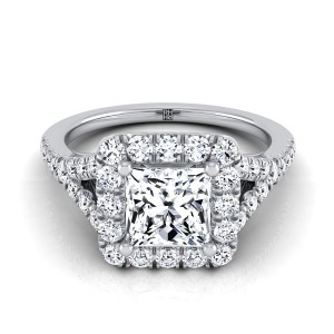 Princess Cut Diamond Halo Engagement With Pave Shank In 14k White Gold (1/2 Ct.tw.)