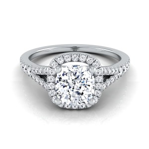 Cushion Cut Diamond Halo Engagement Ring With Scroll Gallery In Platinum (1/4 Ct.tw)
