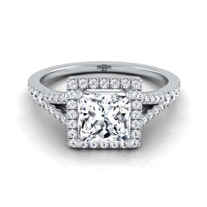 Princess Cut Diamond Halo Engagement Ring With Scroll Gallery In 14k White Gold (1/4 Ct.tw)