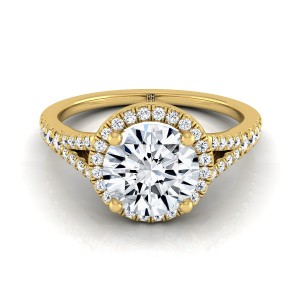 Diamond Halo Engagement Ring With Scroll Gallery In 14k Yellow Gold (1/4 Ct.tw)