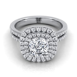 Cushion Cut Diamond Double Entourage Engagement Ring With 2 Row Shank In 14k White Gold (3/8 Ct.tw.)
