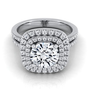 Diamond Double Entourage Engagement Ring With 2 Row Shank In 14k White Gold (3/8 Ct.tw.)