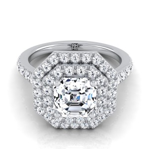 Asscher Cut Diamond Double Halo Engagement Ring In 14k White Gold (3/4 Ct.tw.)