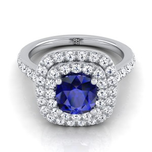 Cushion-cut Sapphire Center Engagement Ring With Diamond Double Halo In 14k White Gold (3/4 Ct.tw.)
