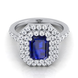 Emerald-cut Sapphire Center Engagement Ring With Diamond Double Halo In 14k White Gold (4/5 Ct.tw.)