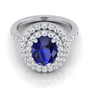 Sapphire Oval Center Engagement Ring With Diamond Double Halo In 14k White Gold (4/5 Ct.tw.)