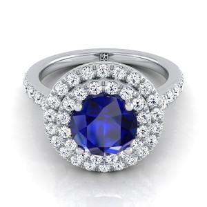 Sapphire Round Center Engagement Ring With Diamond Double Halo In 14k White Gold (3/4 Ct.tw.)