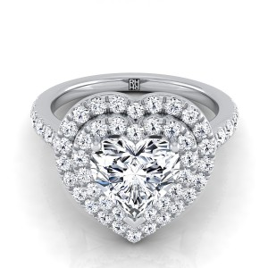 Heart Shape Diamond Double Halo Engagement Ring In 14k White Gold (4/5 Ct.tw.)