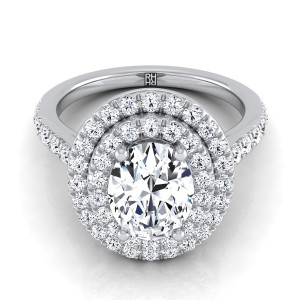 Oval Diamond Double Halo Engagement Ring In 14k White Gold (4/5 Ct.tw.)