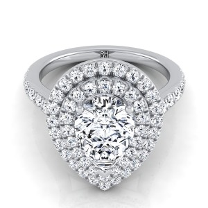 Pear Shape Diamond Double Halo Engagement Ring In 14k White Gold (7/8 Ct.tw.)