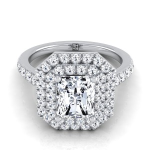 Radiant Cut Diamond Double Halo Engagement Ring In 14k White Gold (4/5 Ct.tw.)