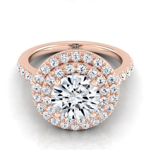 Diamond Double Entourage Engagement Ring In 14k Rose Gold (3/4 Ct.tw.)