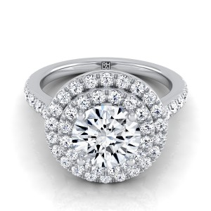 Diamond Double Entourage Engagement Ring In 14k White Gold (3/4 Ct.tw.)