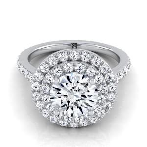 Diamond Double Entourage Engagement Ring In Platinum (3/4 Ct.tw.)