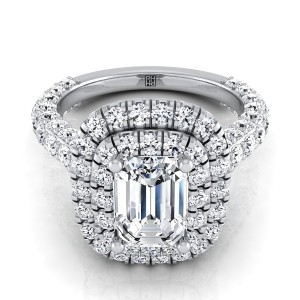 Emerald Cut Diamond Double  Halo Engagement Ring With A Pave Shank In 14k White Gold (2-1/6 Ct.tw.)