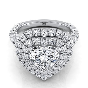 Heart Shape Diamond Double  Halo Engagement Ring With A Pave Shank In 14k White Gold (2-1/6 Ct.tw.)