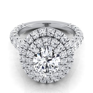 Oval Diamond Double  Halo Engagement Ring With A Pave Shank In 14k White Gold (2-1/6 Ct.tw.)