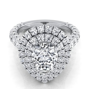 Pear Shape Diamond Double  Halo Engagement Ring With A Pave Shank In 14k White Gold (2-1/5 Ct.tw.)