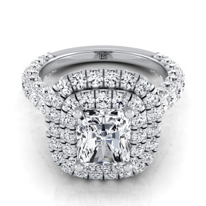 Radiant Cut Diamond Double  Halo Engagement Ring With A Pave Shank In 14k White Gold (2-1/6 Ct.tw.)