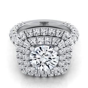 Diamond Double  Halo Engagement Ring With A Pave Shank In Platinum (2-1/6 Ct.tw.)