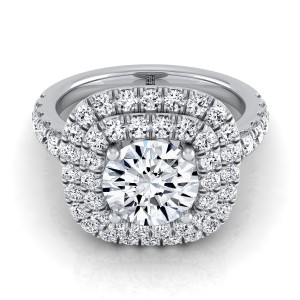 Diamond Double Entourage Engagement Ring With Pave Shank In Platinum (9/10 Ct.tw.)