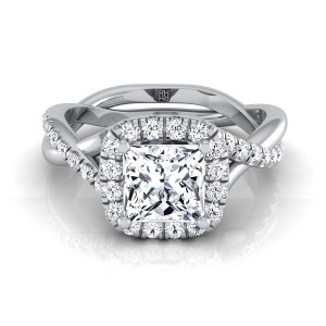 Princess Cut Diamond Halo Engagement Ring With Twist Shank In 14k White Gold (3/8 Ct.tw.)
