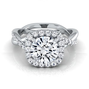 Diamond Halo Engagement Ring With Twist Shank In Platinum (3/8 Ct.tw.)